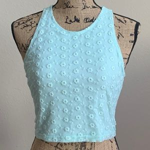 FOREVER 21 Mint Green Lace Crop Top